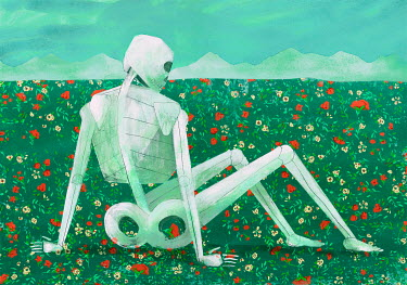 Gonzalo Martinez Moreno HUMAN SKELETON SITTING IN FIELD WITH FLOWERS