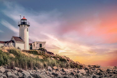 Evelina Kremsdorf LIGHTHOUSE AND ROCKY COAST AT SUNSET Miscellaneous Buildings