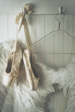 Sandra Cunningham angel wings and ballet shoes hanging on hook Miscellaneous Objects