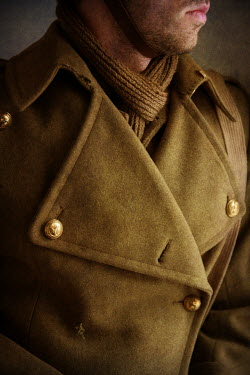 Lee Avison 1940s soldier wearing trench coat Men