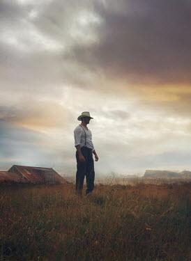 Mark Owen HISTORICAL COWBOY MAN STANDING IN FIELD Men