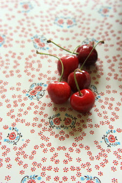 Nicole Wustrack FIVE RED CHERRIES ON FLORAL SURFACE Miscellaneous Objects