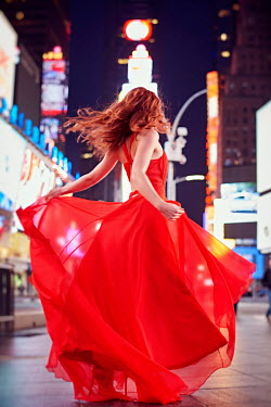 Chris Reeve WOMAN IN RED DRESS ON NEW YORK CITY STREET Women