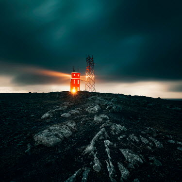 David Keochkerian LIGHTHOUSE TOWER ON ROCKY CLIFF Miscellaneous Buildings