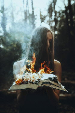 Terrence Drysdale YOUNG BRUNETTE WOMAN HOLDING BURNING BOOK Women