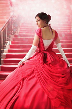 Lee Avison beautiful victorian woman in ball gown on staircase Women