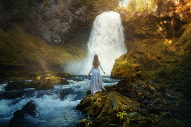 Terrence Drysdale YOUNG BLONDE HISTORICAL WOMAN BY WATERFALL Women