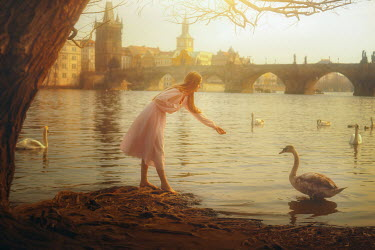 Terrence Drysdale YOUNG WOMAN FEEDING SWANS IN LAKE BY BRIDGE Women