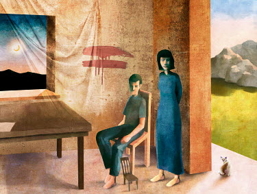 Dragan Todorovic MOTHER AND SON IN HOUSE WITH TWO LANDSCAPES
