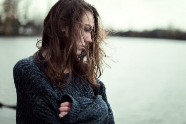 Renee Quost YOUNG BRUNETTE WOMAN BY WINTRY LAKE Women