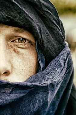 Yolande de Kort MUSLIM MAN WITH BROWN EYES WRAPPED IN SCARF Men
