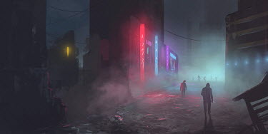 Michael Vincent Manalo MAN WITH KNIFE AND ZOMBIES IN CITY AT NIGHT