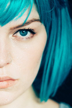 Rekha Garton YOUNG WOMAN WITH BLUE HAIR AND WET FACE Women