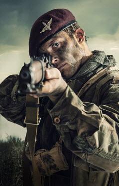 CollaborationJS British WW2 paratrooper man aiming his rifle Men