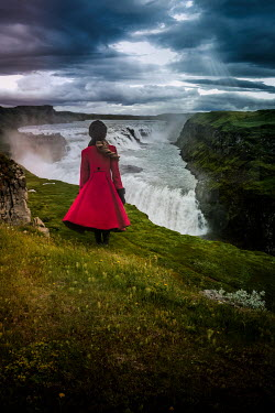 Elisabeth Ansley GIRL IN RED COAT BY CLIFFS AND WATERFALL Children