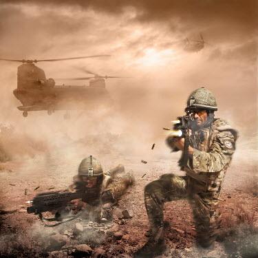 Nik Keevil TWO ARMY MEN SHOOTING GUNS IN WARZONE Groups/Crowds