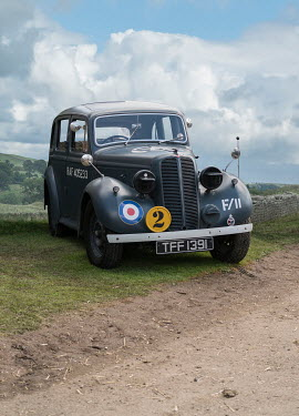 Stephen Mulcahey WW2 RAF car parked on country road Cars
