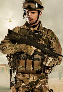 CollaborationJS modern combat soldier and helicopter Men
