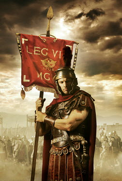 CollaborationJS roman soldier holding legions red flag in battle Men