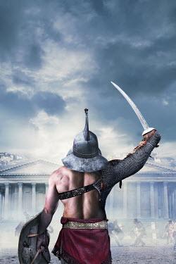 Stephen Mulcahey gladiator with sword in battle Men