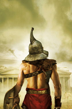 Stephen Mulcahey gladiator in helmet with shield Men