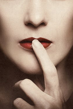 Elena Bovo YOUNG WOMAN TOUCHING HER RED LIPS Women
