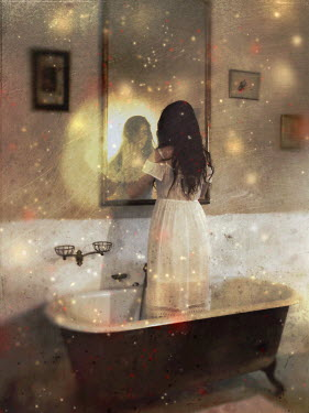Kamil Vojnar WOMAN STANDING IN BATH REFLECTED IN MIRROR Women