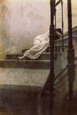 Kamil Vojnar WOMAN IN WHITE DRESS LAYING ON STAIRS Women