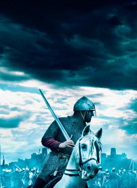 Stephen Mulcahey medieval soldier riding horse in battle Men