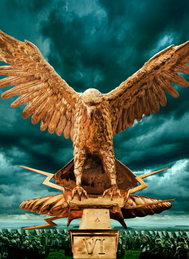 Stephen Mulcahey army and gold roman eagle standard Groups/Crowds