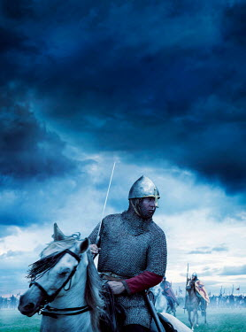 Stephen Mulcahey medieval soldiers riding horses on battlefield Groups/Crowds