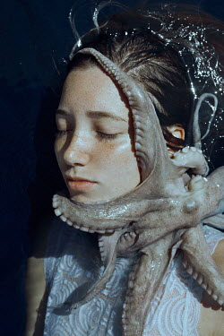 Marta Bevacqua YOUNG WOMAN IN WATER WITH OCTOPUS Women