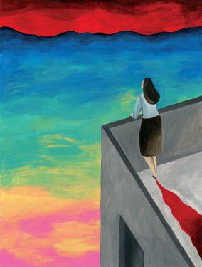 Mayte Alvarado Simancas WOMAN ON ROOF OF BUILDING WATCHING SUNSET Women