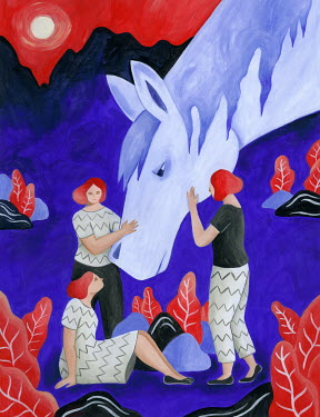 Mayte Alvarado Simancas WOMEN WITH GIANT HORSE BY MOUNTAINS