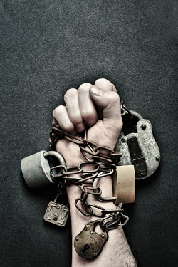 Peter Hatter MANS HAND CHAINED WITH PADLOCKS Body Detail