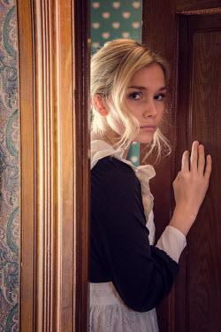 Elisabeth Ansley YOUNG BLONDE HISTORICAL MAID PUSHING DOOR Women