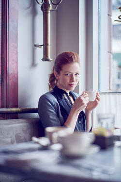 Chris Reeve YOUNG WOMAN WITH RED HAIR IN COFFEE SHOP Women