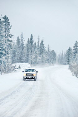 Evelina Kremsdorf CAR DRIVING ON SNOWY COUNTRY ROAD Cars