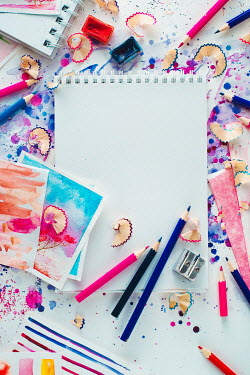 Dina Belenko COLOURFUL PENCILS AND BLANK NOTEPAD Miscellaneous Objects