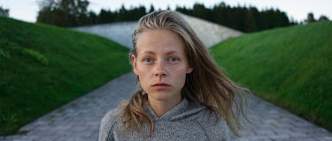 Efim Shevchenko YOUNG BLONDE WOMAN WEARING WOOL SWEATER Women