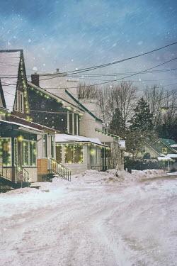 Sandra Cunningham RESIDENTIAL STREET AT CHRISTMAS Houses