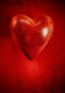 Lyn Randle RED CRACKED HEART Miscellaneous Objects