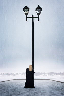 Robin Macmillan BLONDE WOMAN BY LAMP POST IN SNOW Women