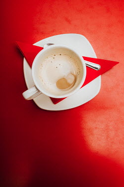Laura Ranftler CUP OF COFFEE ON RED SERVIETTE Miscellaneous Objects