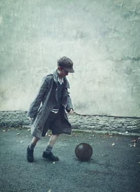 Mark Owen 1940S SCHOOL BOY PLAYING FOOTBALL Children