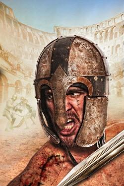 Nik Keevil ANCIENT ROMAN WEARING HELMET IN COLOSSEUM Men