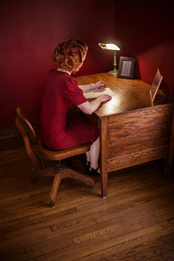 Elisabeth Ansley RETRO WOMAN SITTING AT WRITING DESK Women