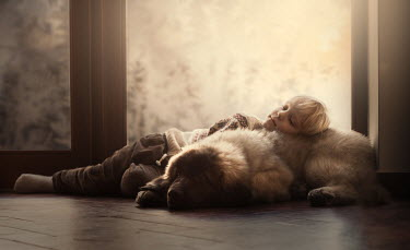 Sveta Butko LITTLE BLOND BOY ASLEEP ON DOG Children
