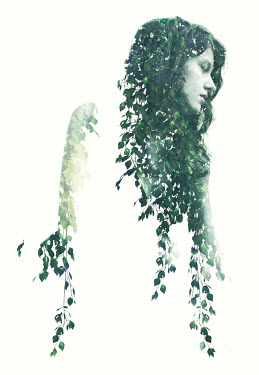 Nicola Smith DOUBLE EXPOSURE OF YOUNG WOMAN AND LEAVES Women