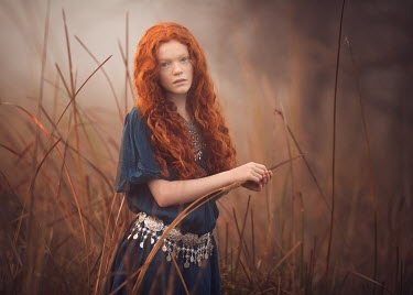 Lisa Holloway YOUNG GIRL WITH RED CURLY HAIR IN FIELD Children